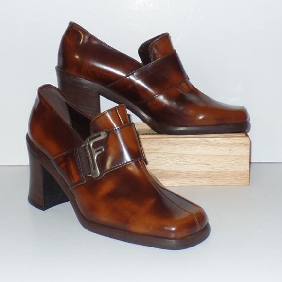 c356ff0a5db Fiorangelo Shoes - Retro Fiorangelo Brown Shoe Square Chunky Heel 7